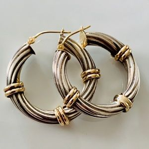Jewelry - Two Tone Twisted Cable Hoop Earrings 925 14K 😍